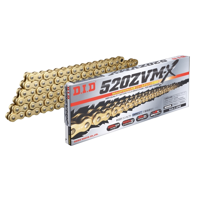 DID : ZVM-X Series Chain 520ZVM-X Gold [with Riveting (ZJ) Joint]  [520ZVM-X_G&G-140]
