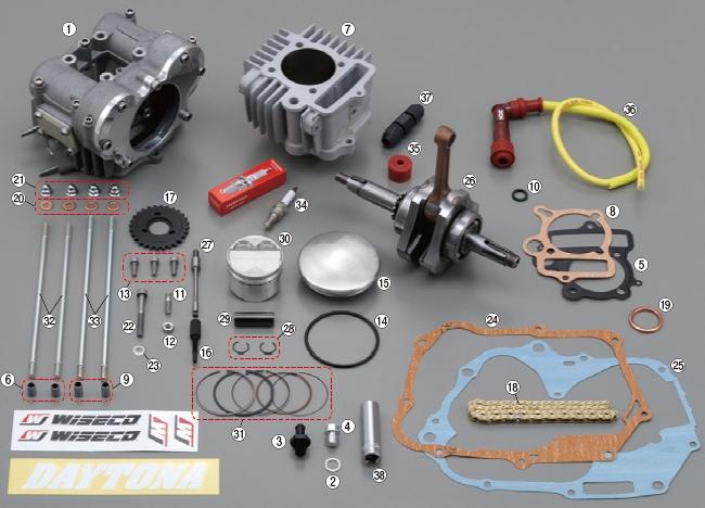 【DAYTONA】【FFDOHC缸徑&加大行程套件 維修用部品】WISECO活塞套件 - 「Webike-摩托百貨」