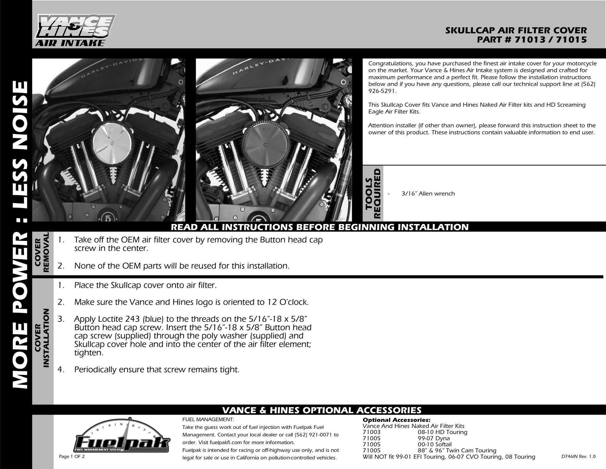 VANCE&HINES : VO2 Air Intake (Air Cleaner) SKULLCAP Black (VO2 AIR INTAKE  SKULLCAP BLACK) [71015]
