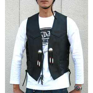 Motobluez [HEAVY RED LABEL] Oiled Leather Vest Black