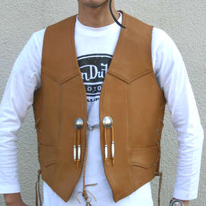Motobluez [HEAVY RED LABEL] Geolied lederen vest Tan