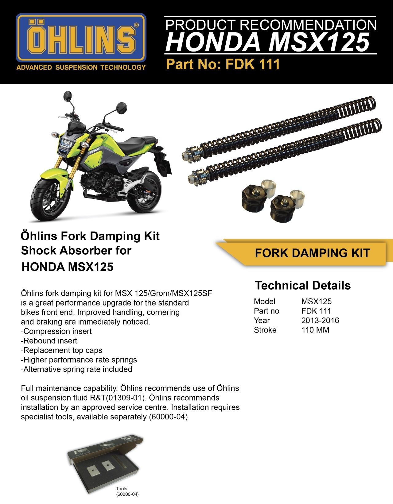 OHLINS : Dämpfer Set Stoßdämpfer für HONDA MSX 125 [FDK111]