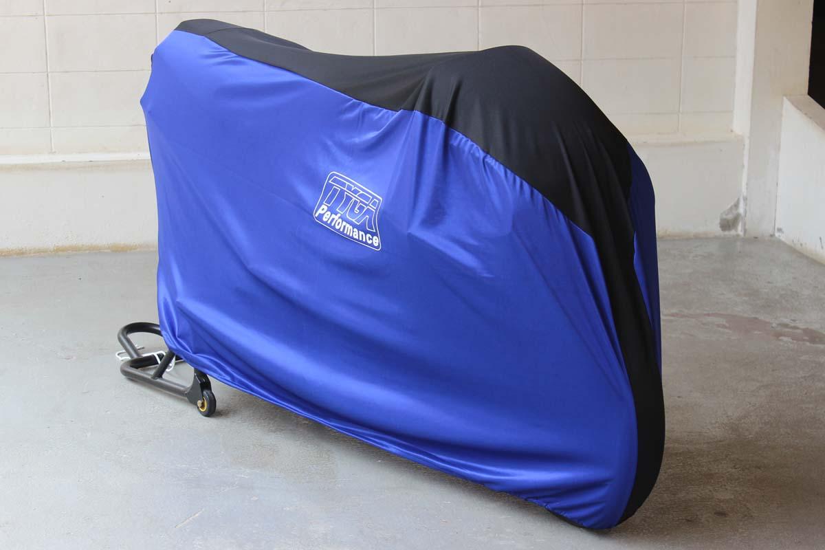 Tyga performance housse de moto tyga bleu noir pour for Housse pour moto