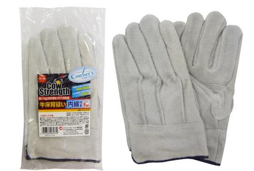 #CS‐416 牛二層皮手套背接縫附內綿