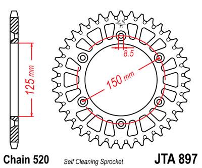 JT 520 Pitch Aluminum 40 Tooth Rear Sprocket JTA897.40 for Husaberg//KTM