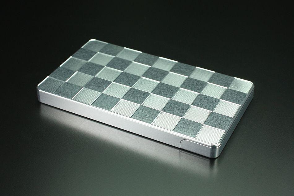 GILD design Duralumin Cut-out Business Card Holder [Checkered]