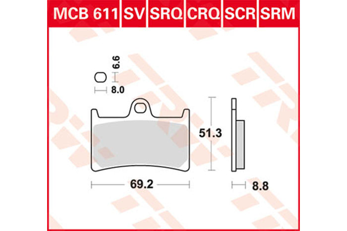 TRW BRAKE-PADS ORGANIC Scooters And Offroad [MCB611SRM]
