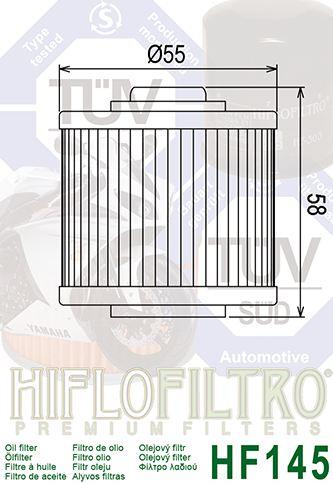 Yamaha XVS 650/Dragstar classic-97//07 MT03/ /06//13-filtre ha Olio HF145