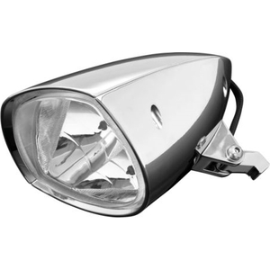 Highsider Motorcycle Headlamp 6/1//2/Inch With Lower Fixing Metal Casing Chrome Clear Glass Reflector with St