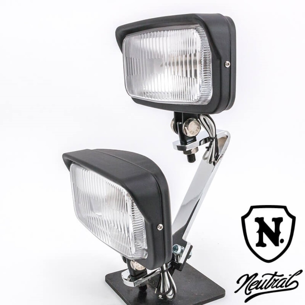 [NEUTRAL] Dual Light Kit Vintage Style Square Light Black SR400 SR500 XS650