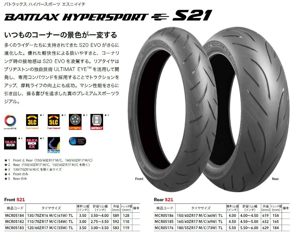 Bridgestone BT-021 Battlax Rear Tire 180//55ZR-17 TL 73W  004489