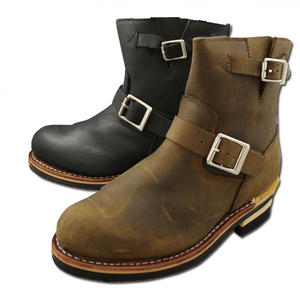 Motobluez [ GOD ZEGENE ] Alle lederen Short Engineer Boots Koperwiek Type