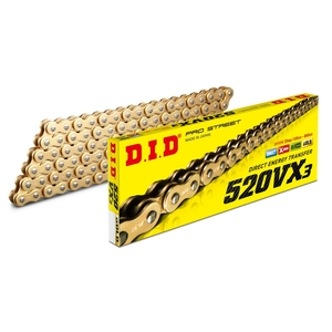 DID VX Series Chain 520VX3 Gold [Light Press Fitting Clip (FJ) Joint Included]