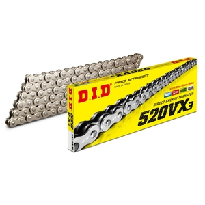 DID VX Series Chain 520VX3 Silver [Light Press Fitting Clip (FJ) Joint Included]