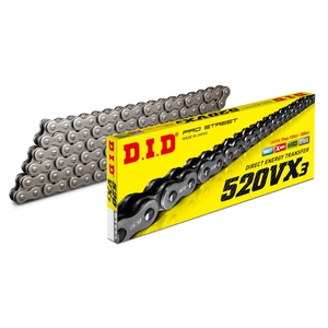 DID VX Series Chain 520VX3 Steel [Light Press Fitting Clip (FJ) Joint Included]