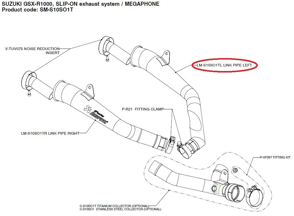 AKRAPOVIC [Repair Parts] LM-S10SO1TL Link Pipe Left