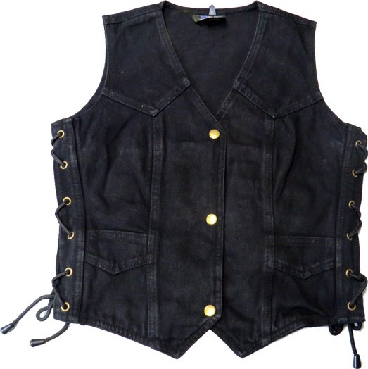 Motobluez [Allstate Leather] Black Denim Vest (Ladies)
