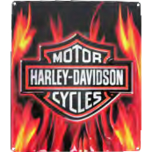 RIDEZ Embossmetal Sign H-D Flame Logo