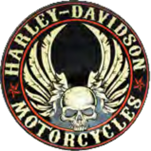 RIDEZ Embossmetal Sign H-D Flying Skull Button