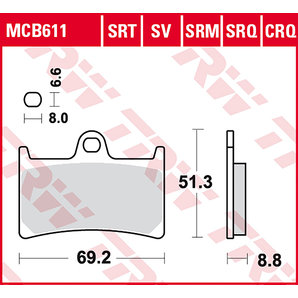 TRW BRAKE-PADS SINTER MCB 611 SRT