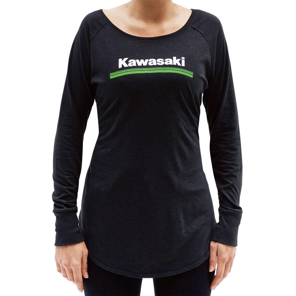 KAWASAKI GENUINE OEM WOMEN/'S 3 GREEN LINES LONG SLEEVE TEE SHIRT LARGE LG